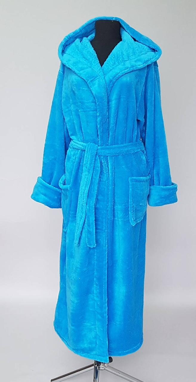 Женский махровый однотонный халат длинный