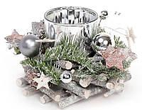 Новогодний подсвечник со стеклянной колбой и декором 16см, цвет - серебро