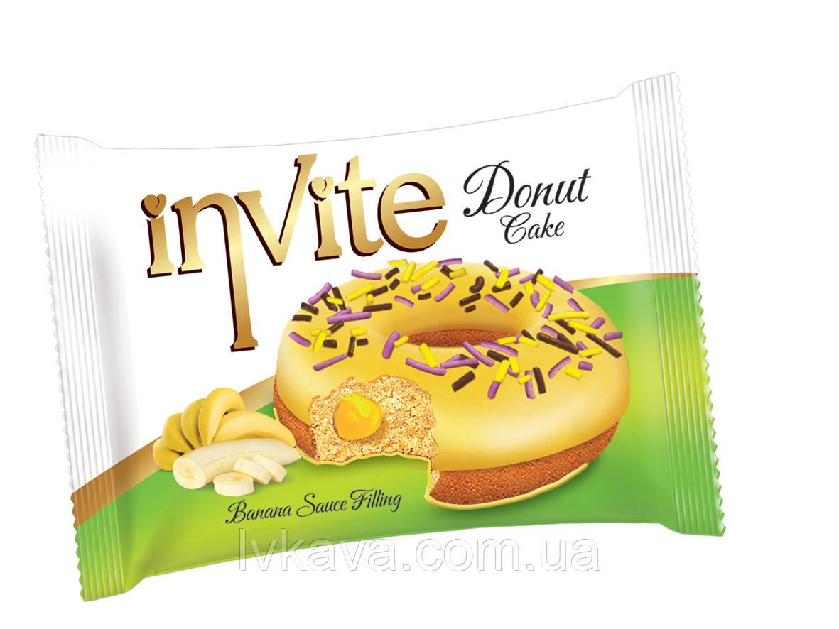 Пирожное-донат  INVITE c банановым соусом , 45 гр