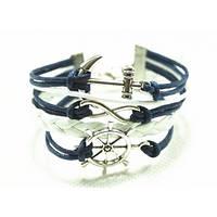 Многоярусный женский браслет, морская тематика со штурвалом, якорем и знаком бесконечности