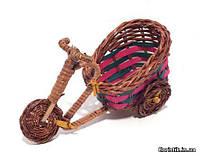 Велосипед из лозы для декора, 15 см. цветной
