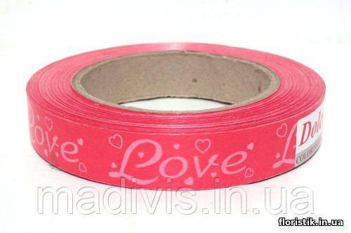 """Декоративная лента Dolce """"Love"""", 2 см. белая на красном"""
