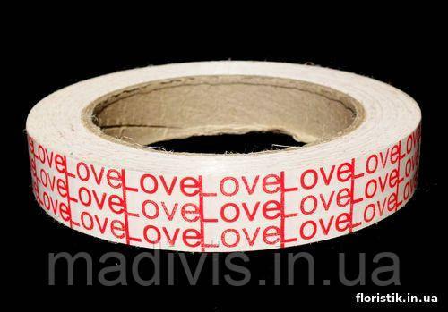 "Декоративная лента Dolce ""Love""; 2 см. красное на белом."