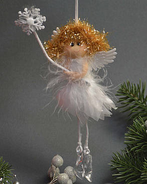 """Новогодние украшения  Ангелочек """"лепестки"""" в каблучках  маленький  0251, фото 2"""