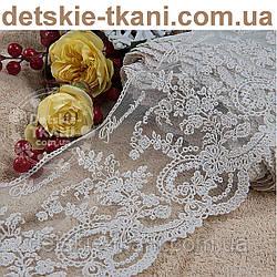 Кружево Блюмарин бежевое с цветами, ширина 12 см