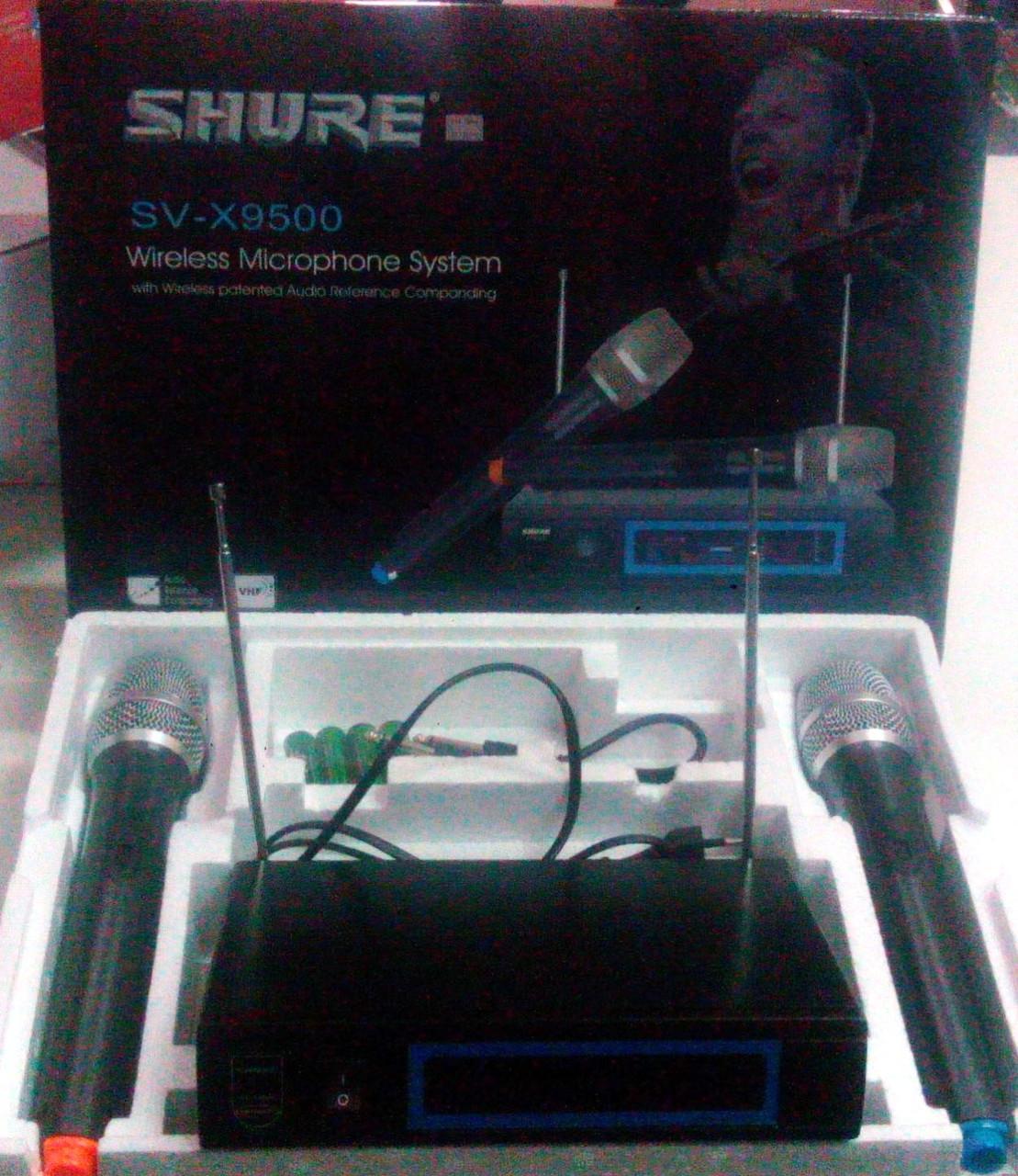 Двухканальная беспроводная микрофонная UHF система Shure SV-X9500 (копия хорошего качества)