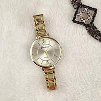 Женские кварцевые наручные часы Geneva золотые с металлическим ремешком