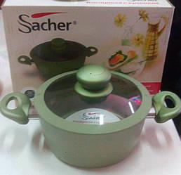 Каструля салатовая с крышкой,Sacher Teflon  20 см