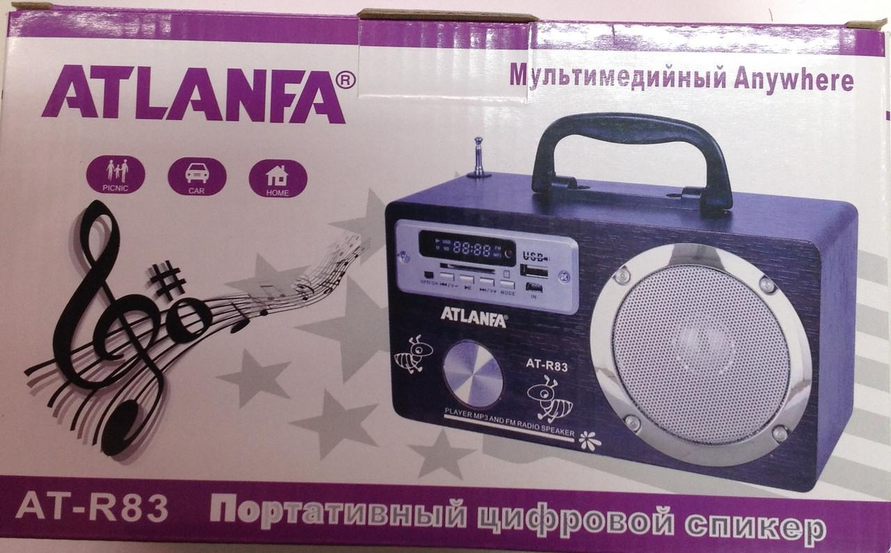 Колонка приемник 1 динамик AT R83  фонарь Atlanfa