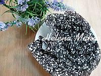 Отрез ткани для рукоделия Черный в ажурный цветочный узор