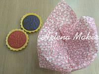 Отрез ткани для рукоделия Бледный розовый  в мелкий белый цветочек