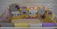Бортики,захист в ліжечко в фіолетово-жовтих тонах 1496