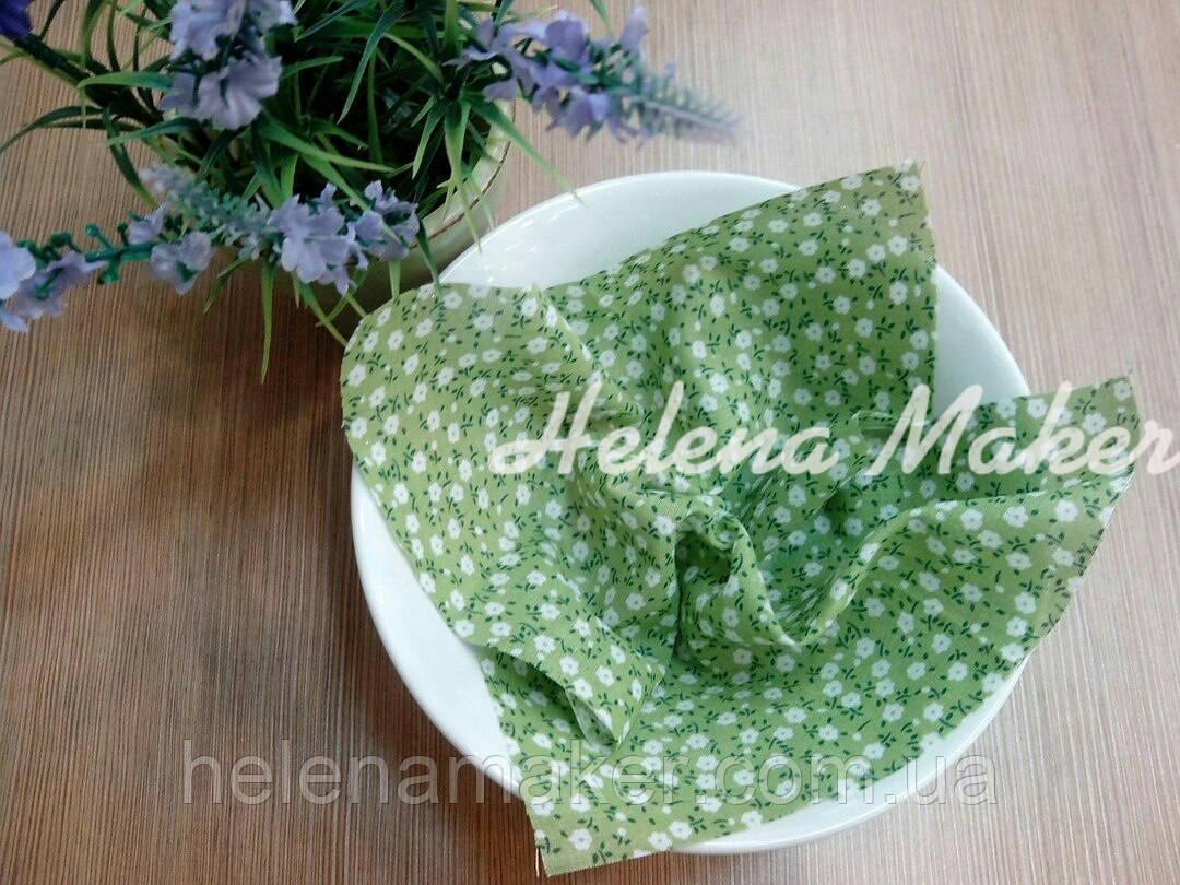 Отрез ткани для рукоделия Зеленый в мелкий цветочек