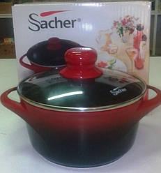 Каструл Sacher Teflon червоно - чорна антипригарна з кришкою , 20 см