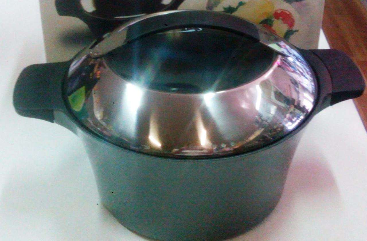 Каструля Sacher Teflon темно - сiра антипригарна з кришкою , 20 см