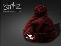 Модная шапка с помпоном Bad Boy красный