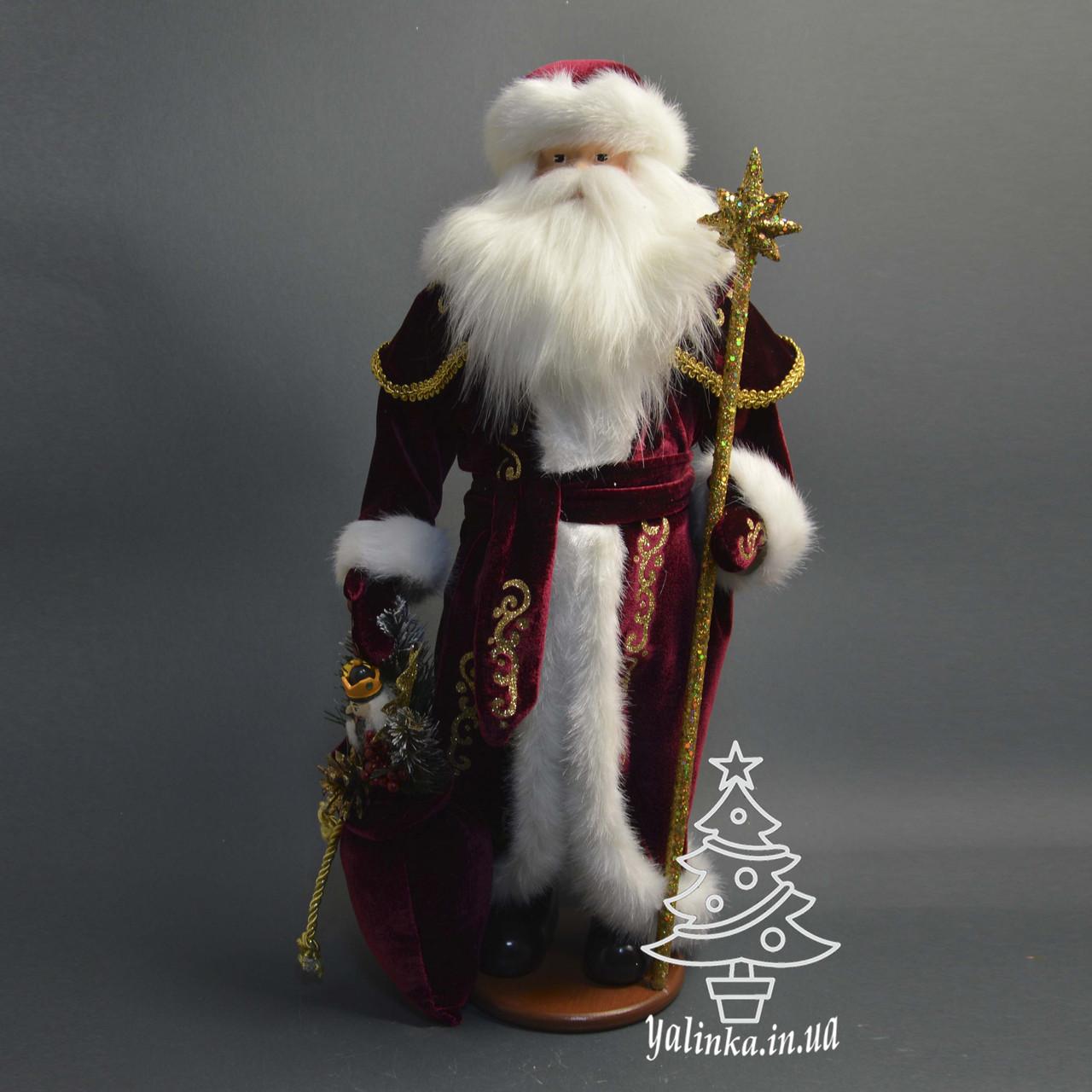Дед Мороз 53 см в бордовой шубе с золотым узором 0454