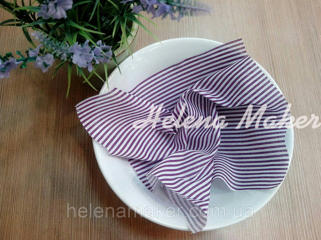 Отрез ткани для рукоделия Фиолетовая полосочка