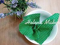 Отрез ткани для рукоделия  зеленый в мелкий горошек