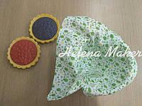 Отрез ткани для рукоделия Белый в зеленый цветочек