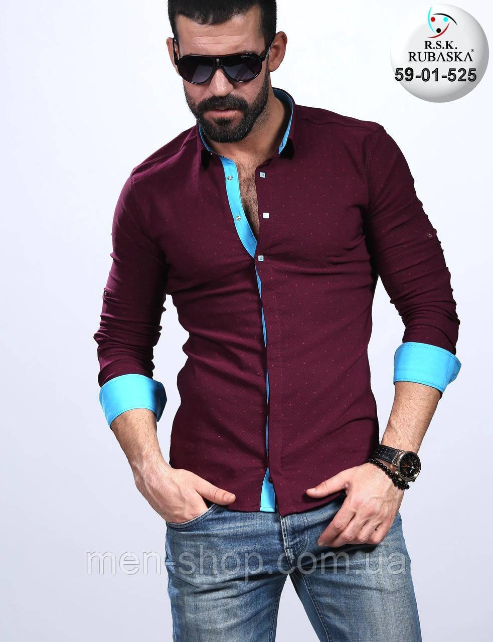 b13fbca8891 Красивая мужская рубашка с голубыми манжетами - Men-Shop в Харькове