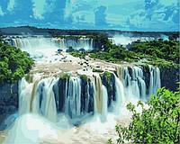"""Раскраски по номерам """"Водопады Игуасу. Бразилия"""" [40х50см, С Коробкой]"""