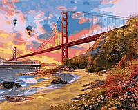 """Картины раскраски по номерам """"Закат над мостом Золотые Ворота"""" набор для творчества"""