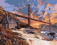 "Раскраски по номерам ""Закат над Сан-Франциско"" 40х50см, С Коробкой"