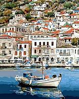 """Картины раскраски по номерам """"Греческий пейзаж"""" набор для творчества"""