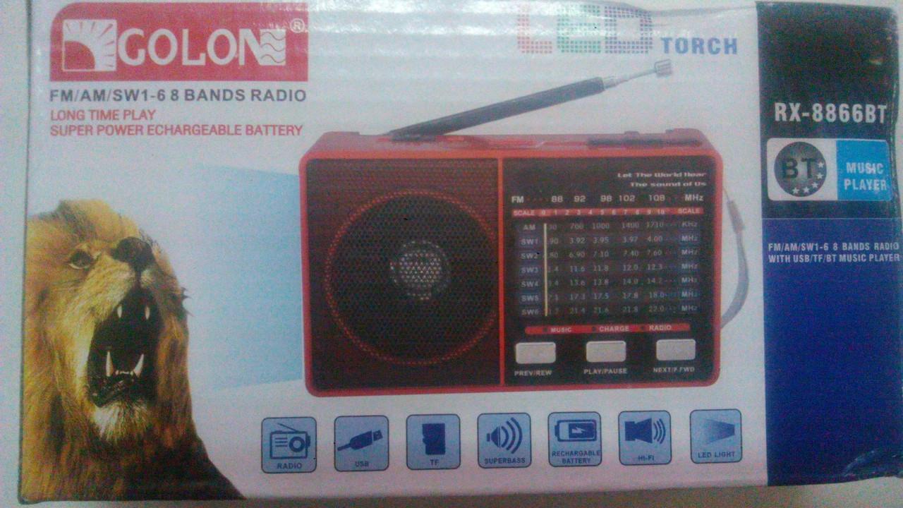 Портативный GOLON RX-BT 8866 Радиоприемник USB МP3 BLUTOOTH