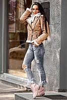 """Женская стильная короткая дубленка """"Zara"""" на овчине"""