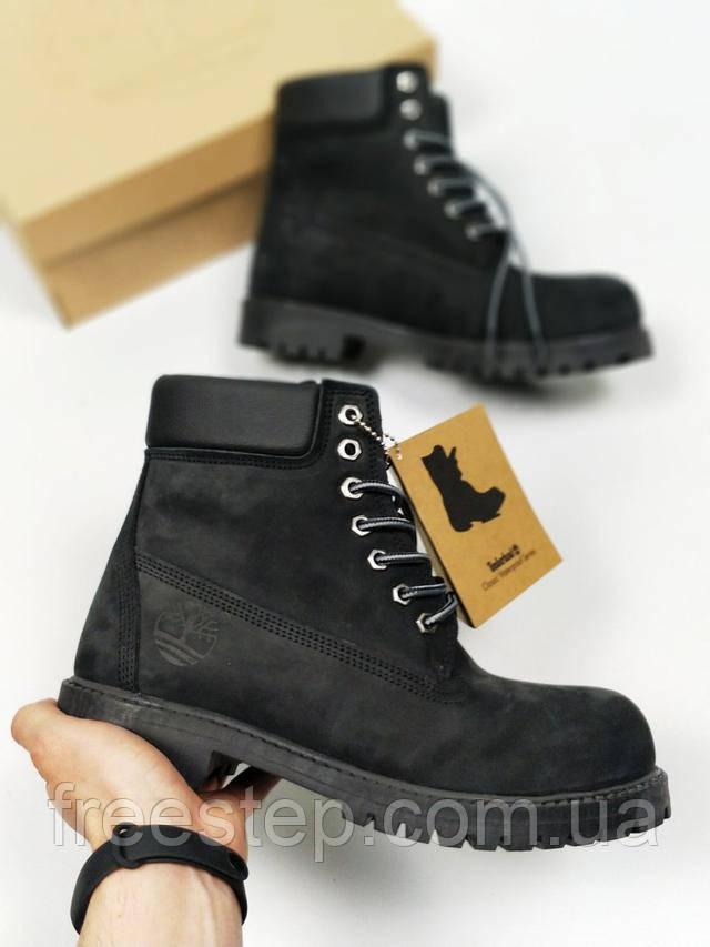 4e56c06d0 Мужские зимние ботинки в стиле Timberland черные нубук мех : продажа ...