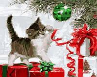 """Картины раскраски по номерам """"Котенок с ёлочным шаром"""" набор для творчества"""