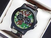Мужские (Женские) кварцевые наручные часы Swiss Army на ремешке из ткани (полиэстера), хаки, летний камуфляж, фото 1