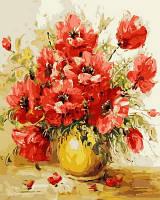 """Картины раскраски по номерам """"Маки в желтой вазе"""" набор для творчества"""