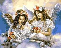 """Картины раскраски по номерам """"Ангелочки с маками"""" набор для творчества"""