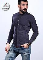 Стильная мужская рубашка темно-синяя с коричневым манжетом