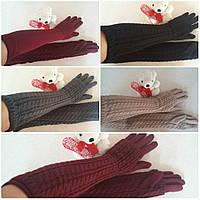 Высокие, теплые (длинные) перчатки-митенки на флисе (2 в 1). Вязка коса
