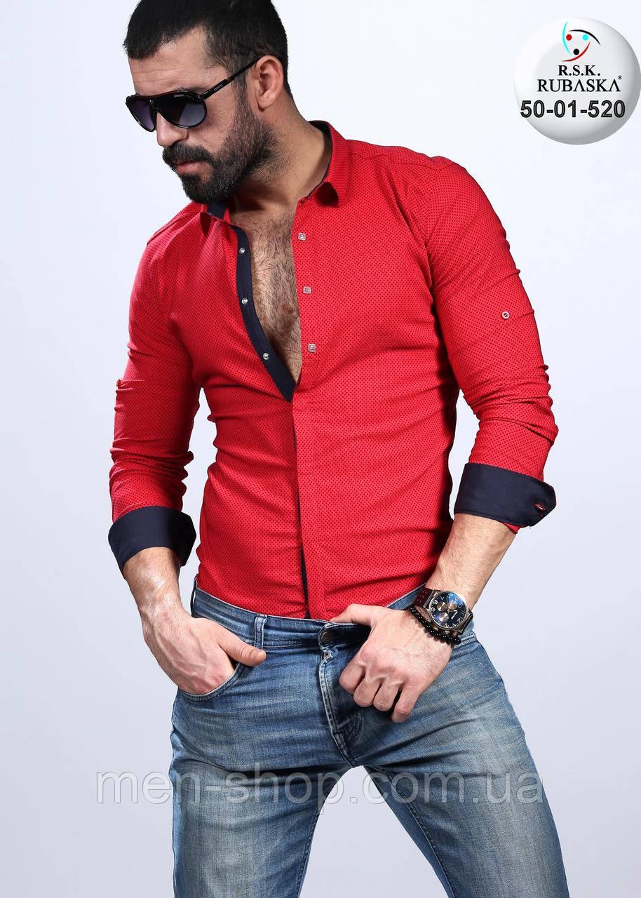 Мужская красная рубашка с черными манжетами