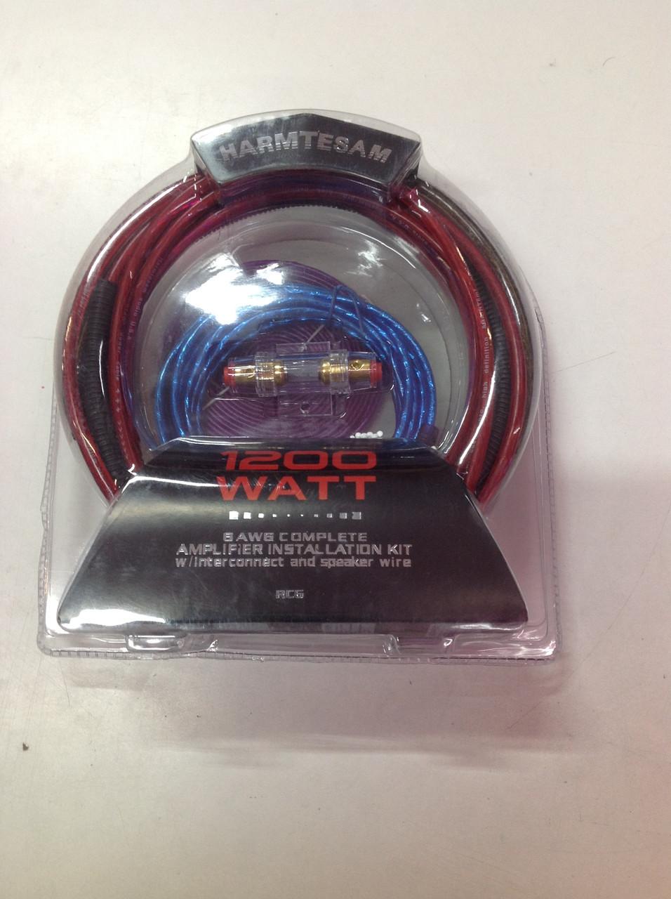 Набор акустических кабелей для усилителя, сабвуфера 6 метров Harmtesam RC6 1200W 6 AWG