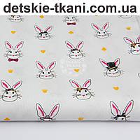 Ткань хлопковая с кроликами в цилиндрах на белом фоне, № 1006