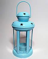Подсвечник фонарик, металл, светло-голубой, 19,5 см