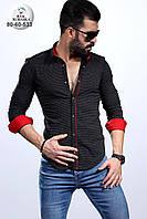 Мужская рубашка черного цвета с красным