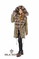 Зимняя женская парка-плащ с натуральным мехом чернобурки (капучино) ТМ Mila Nova