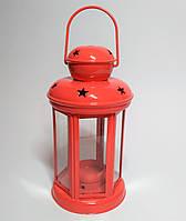 Подсвечник фонарик, металл, коралловый, 19,5 см