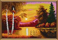 """Ткань с нанесенным рисунком-схемой (атлас) """"Алый закат"""", для вышивания бисером, 57*39см"""