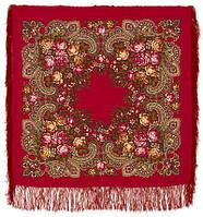 Незнакомка 779-5, павлопосадский платок шерстяной  с шелковой бахромой   Первый сорт