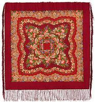 Романтика 1381-5, павлопосадский платок шерстяной  с шелковой бахромой   Первый сорт