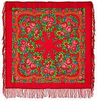 Матрешка 190-5, павлопосадский платок шерстяной с шерстяной бахромой   Первый сорт