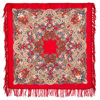 На крыльях ветра 1690-5, павлопосадский платок шерстяной с шерстяной бахромой   Первый сорт